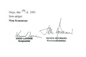 Knud Larsens underskrift i 2003