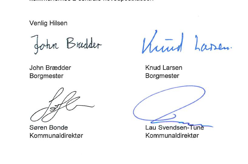 Borgmestrenes og kommunaldirektørernes underskrifter